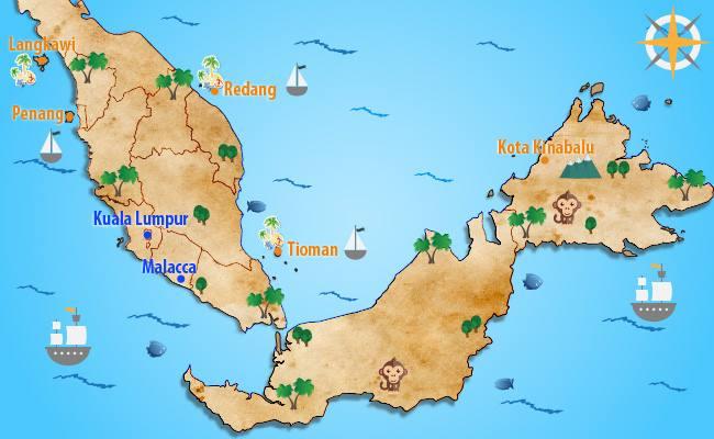 マレーシア魅惑のビーチリゾート地図