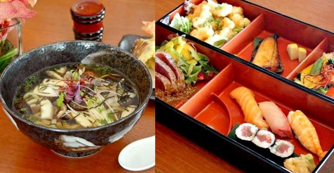 天ぷらうどんとランチボックス-マレーシアのノブレストランのメニュー例