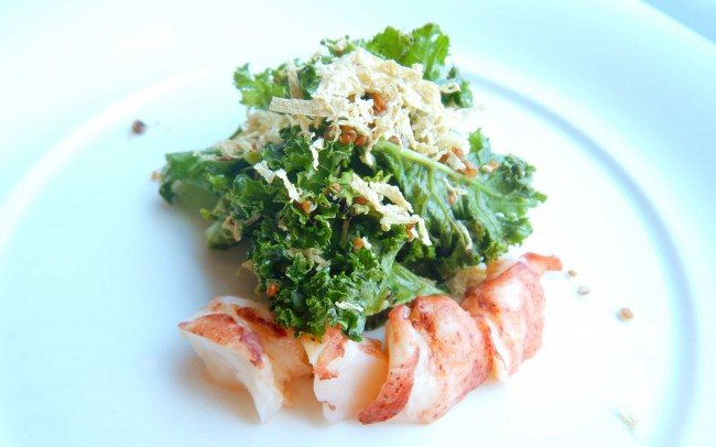 NOBU Restaurant-Lobster And Kale Quinoa Salasa With Dry Miso
