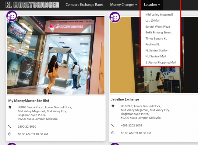 マレーシアでレートのいい両替所が見つかるウェブサイト