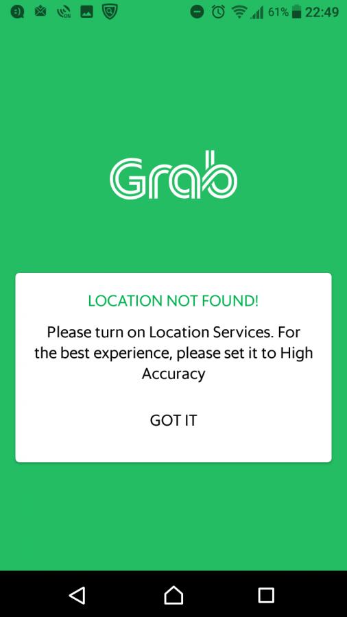 Grabは位置情報ONが必須