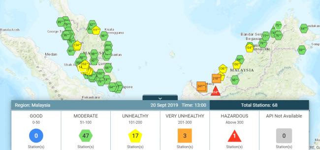 ヘイズの情報収集に便利なサイトAir Pollutant Index of Malaysia