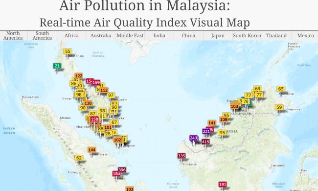 ヘイズの情報収集に役立つサイトThe World Air Quality Index project