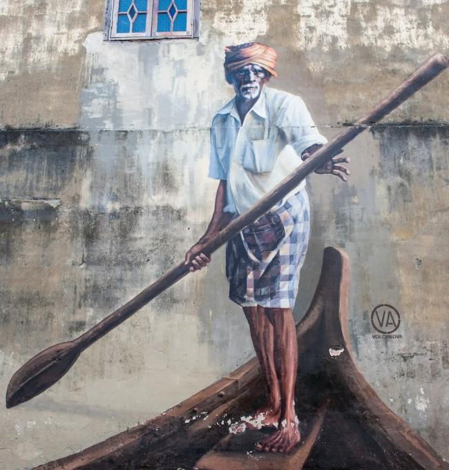 ペナン島ジョージタウンのストリートアート-インド人のボートマン