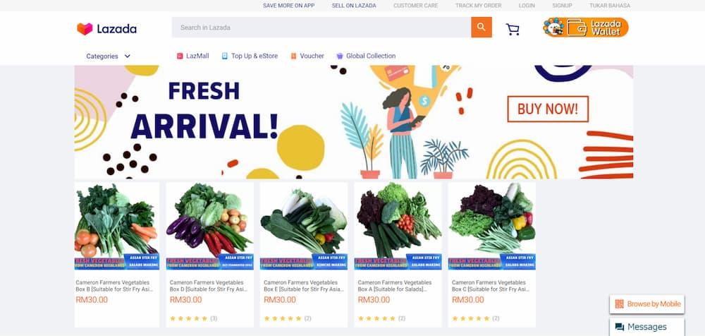 キャメロンハイランドの野菜を販売するLazadaのページ