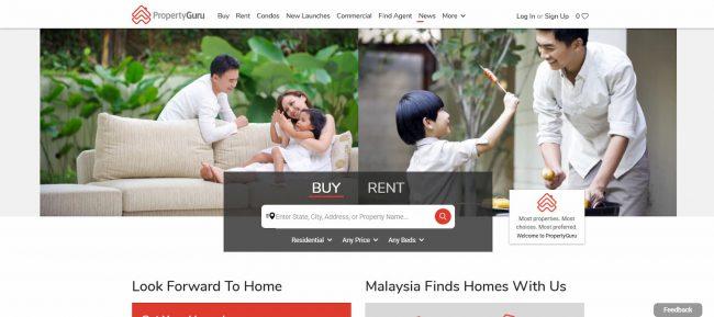 マレーシアで不動産を探すのに人気のサイトPropertyguru.com.myのトップ画面。